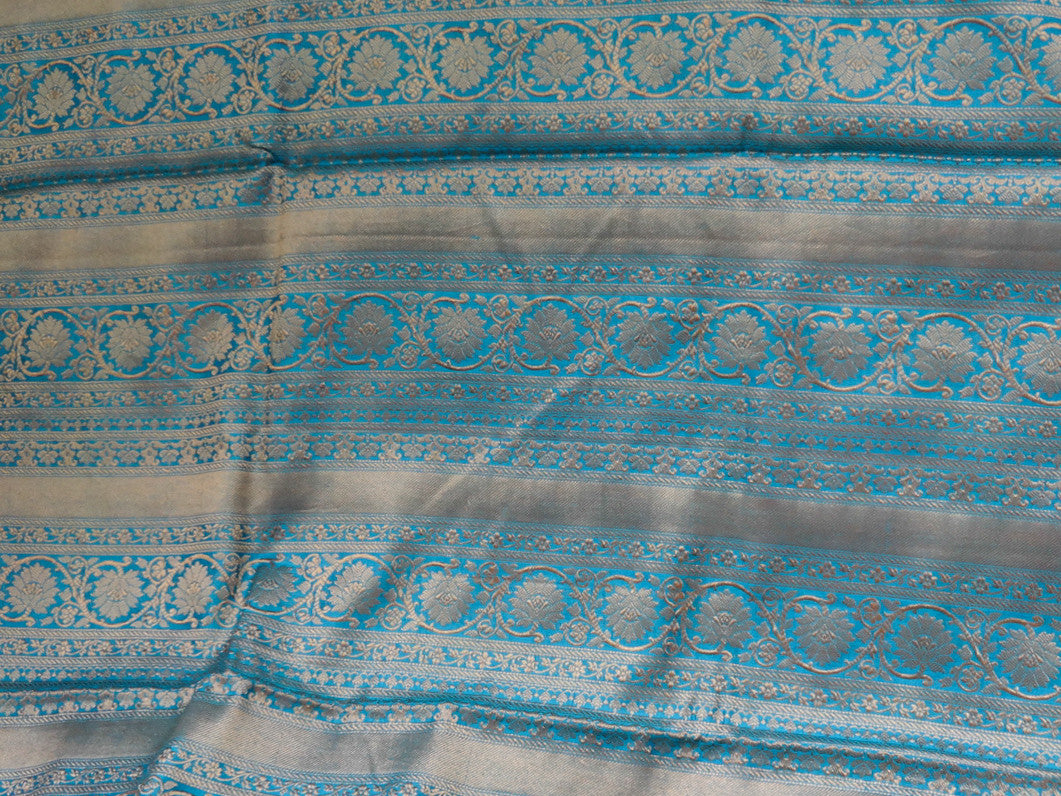 Banarasee/ Banarasi Handwoven Pure Muga Silk Sari With Floral Border-Blue