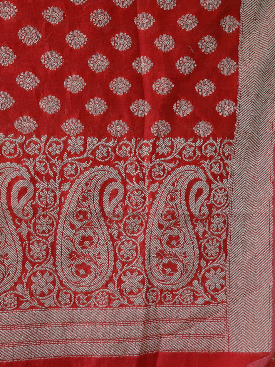 Banarasee/ Banarasi Cotton Silk Mix Resham Work Dupatta-Red