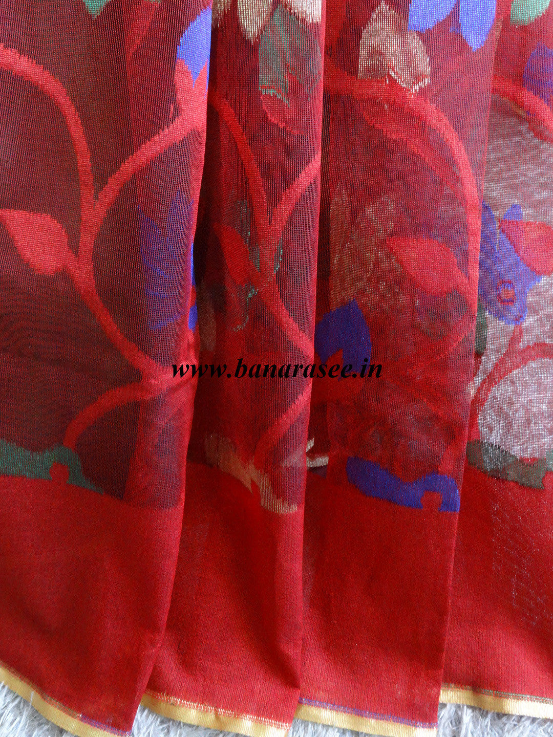 Banarasee Handwoven Net Saree With Multicolor Resham Woven Floral Design-Red