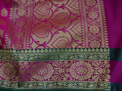 Banarasee Art Silk Heavy Woven Dupatta With Floral Satin Border-Hot Pink