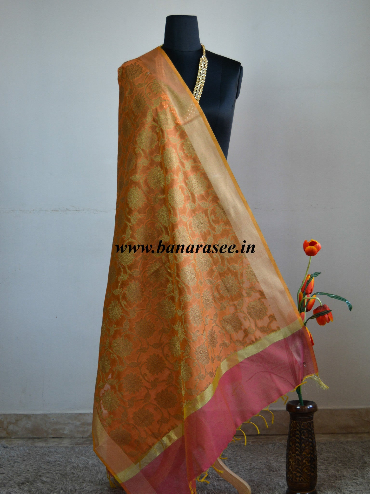 Banarasi Cotton Silk Blend Dupatta Zari Jaal Design-Yellow