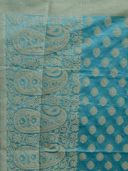 Banarasee/ Banarasi Cotton Silk Mix Resham Work Dupatta-Sky Blue