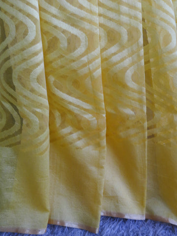 Banarasee Handwoven Net Saree With Self Woven Wave Design-Lemon Yellow