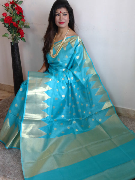 Banarasee/Banarasi Handwoven Pure Tussar Silk Sari With Gold Zari Buti & Temple Border-Sky Blue