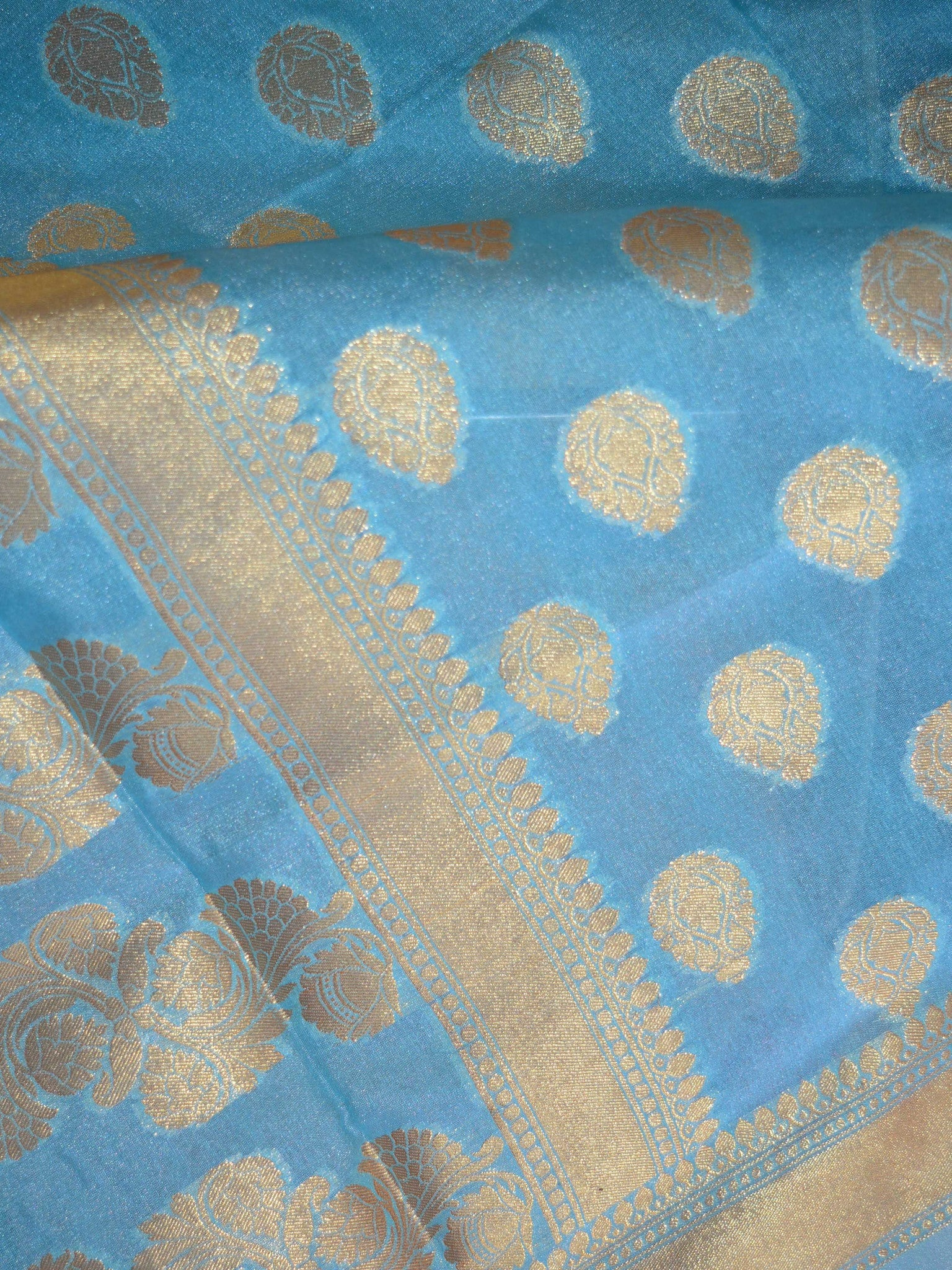 Banarasee Art Silk Dupatta With Zari Buti Design-Sky Blue