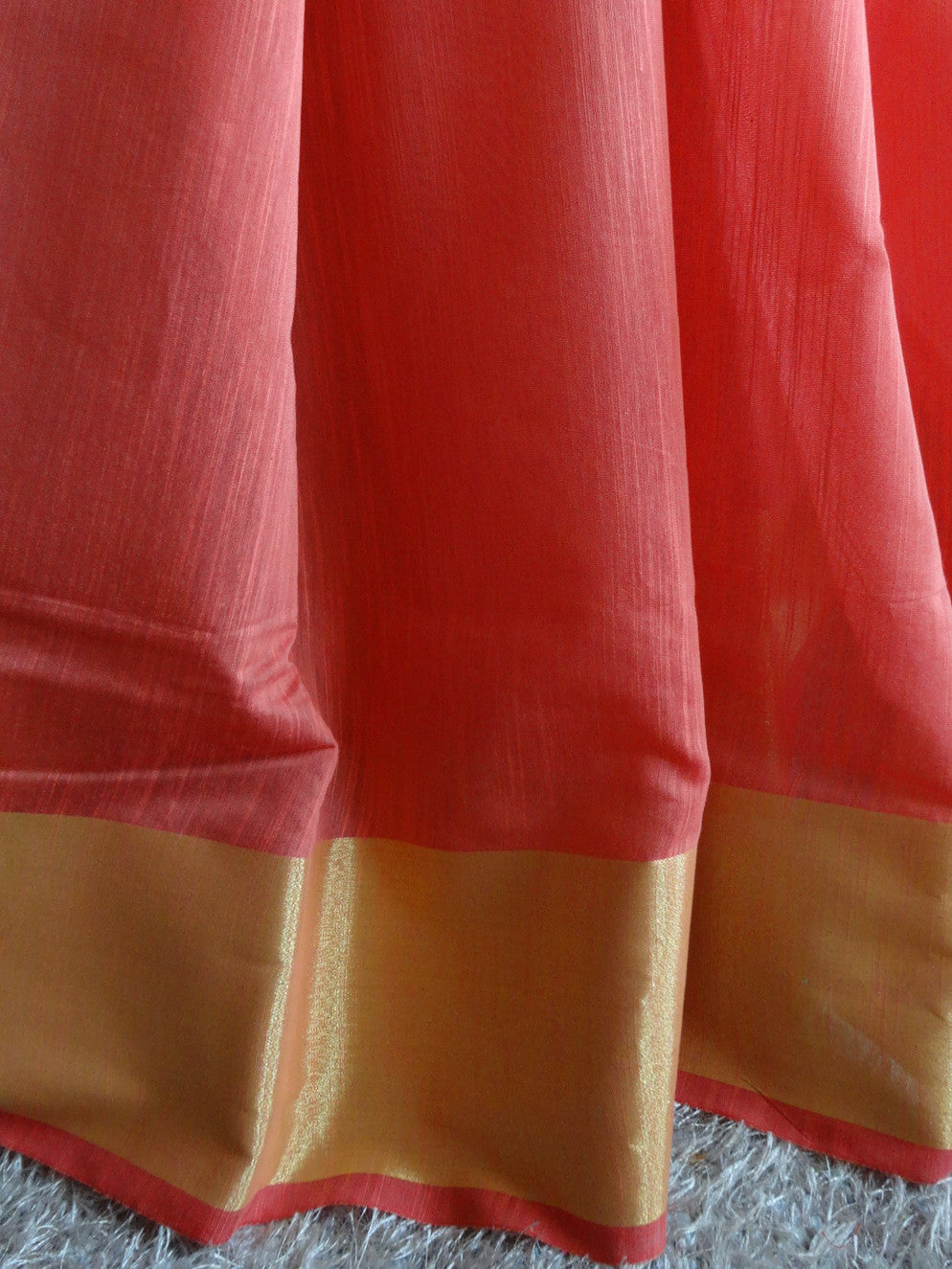 Banarasee/Banarasi Cotton Blend Sari With Zari Border-Peach