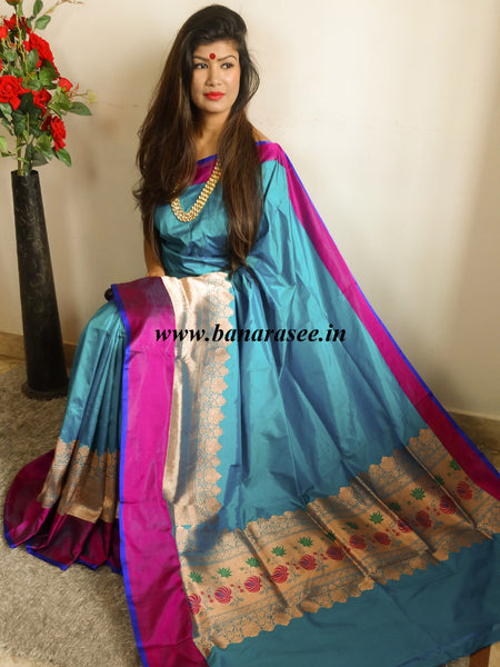 Banarasee/Banarasee Handloom Pure Katan Silk Sari With Skirt Border-Blue(Dual Tone)