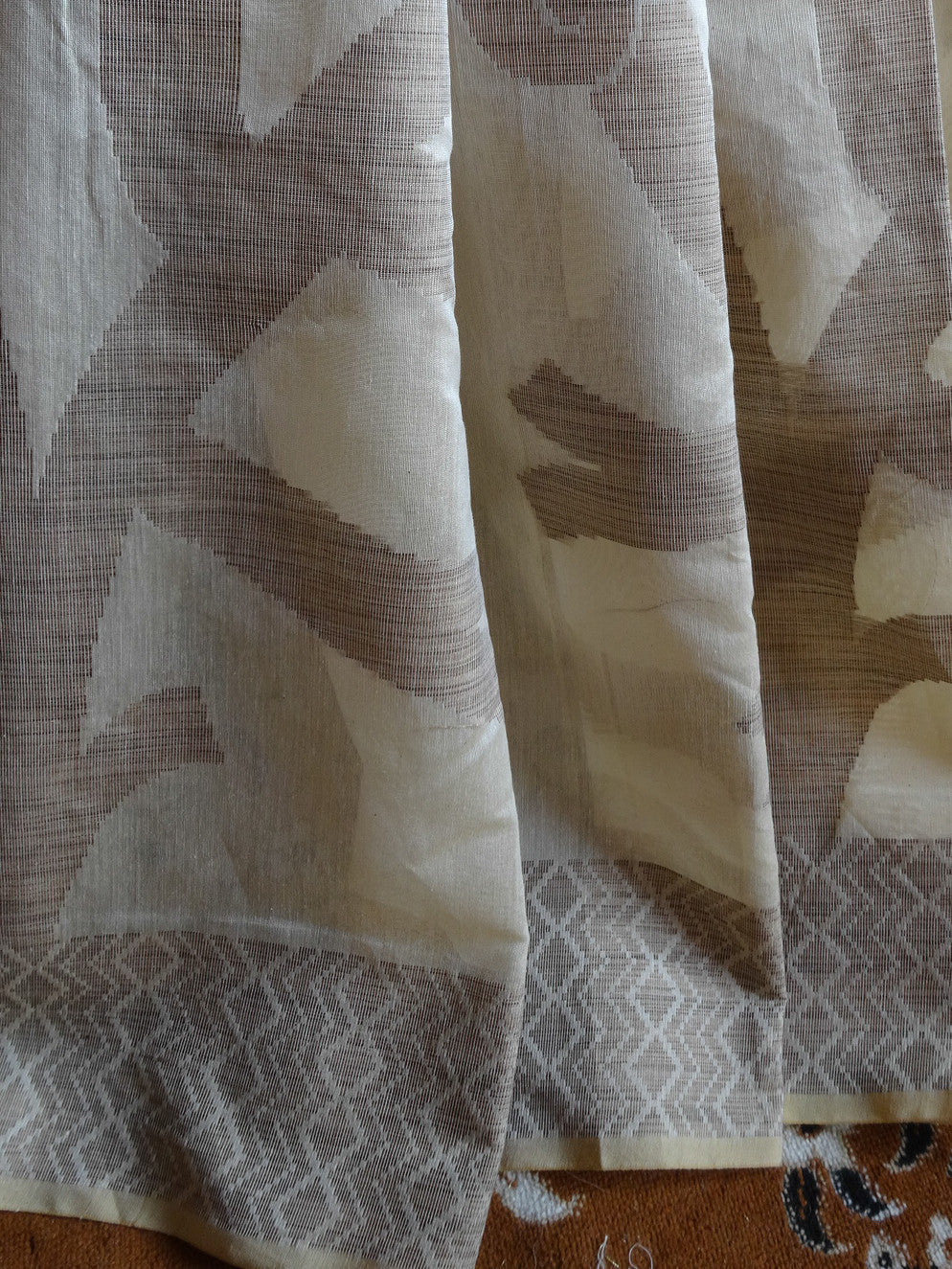 Banarasee/Banarasee Silk Cotton Saree Tree Design Khichha Border-Beige