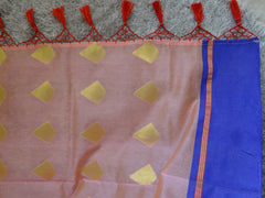Chanderi Cotton Sari With Ganga Jamuna Border Zari Motifs & Contrast Dual Tone Brocade Blouse-Peach