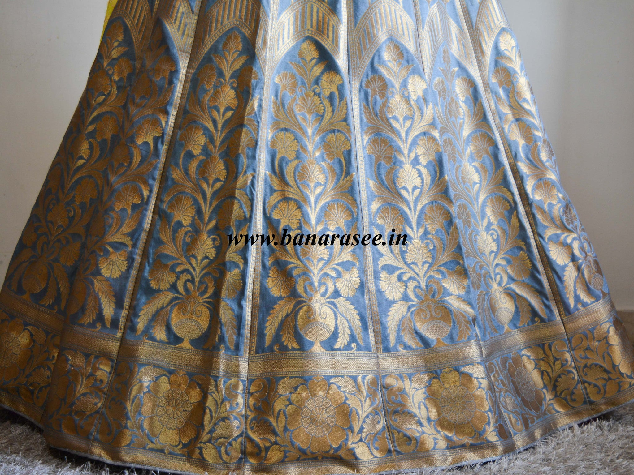 Banarasee/Banarasi Handwoven Semi Silk Unstitched Lehenga & Blouse Fabric With Yellow Dupatta-Grey