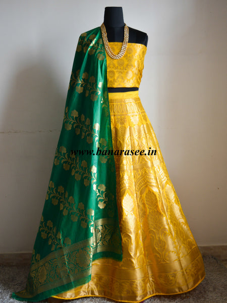 Banarasee/Banarasi Handwoven Art Silk Unstitched Lehenga & Blouse Fabric With Dupatta-Yellow