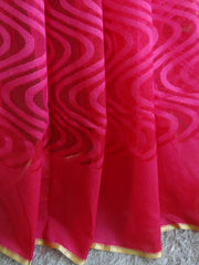 Banarasee Handwoven Net Saree With Self Woven Wave Design-Magenta