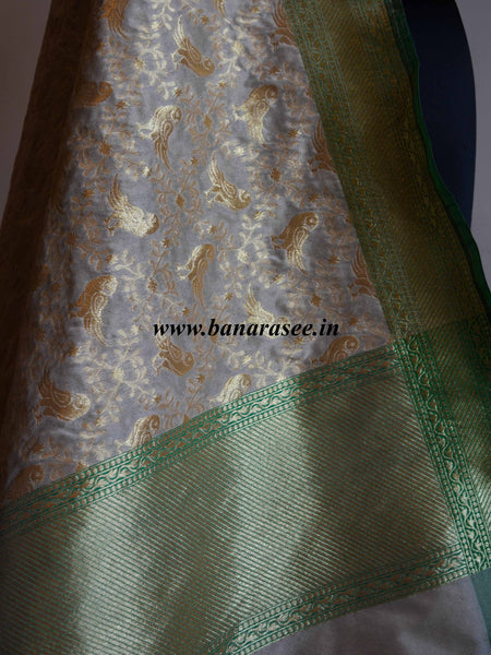 Banarasi Art Silk Dupatta Bird Motif Design-Off white