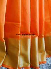 Banarasee/Banarasi Cotton Silk Saree With Zari Border-Orange