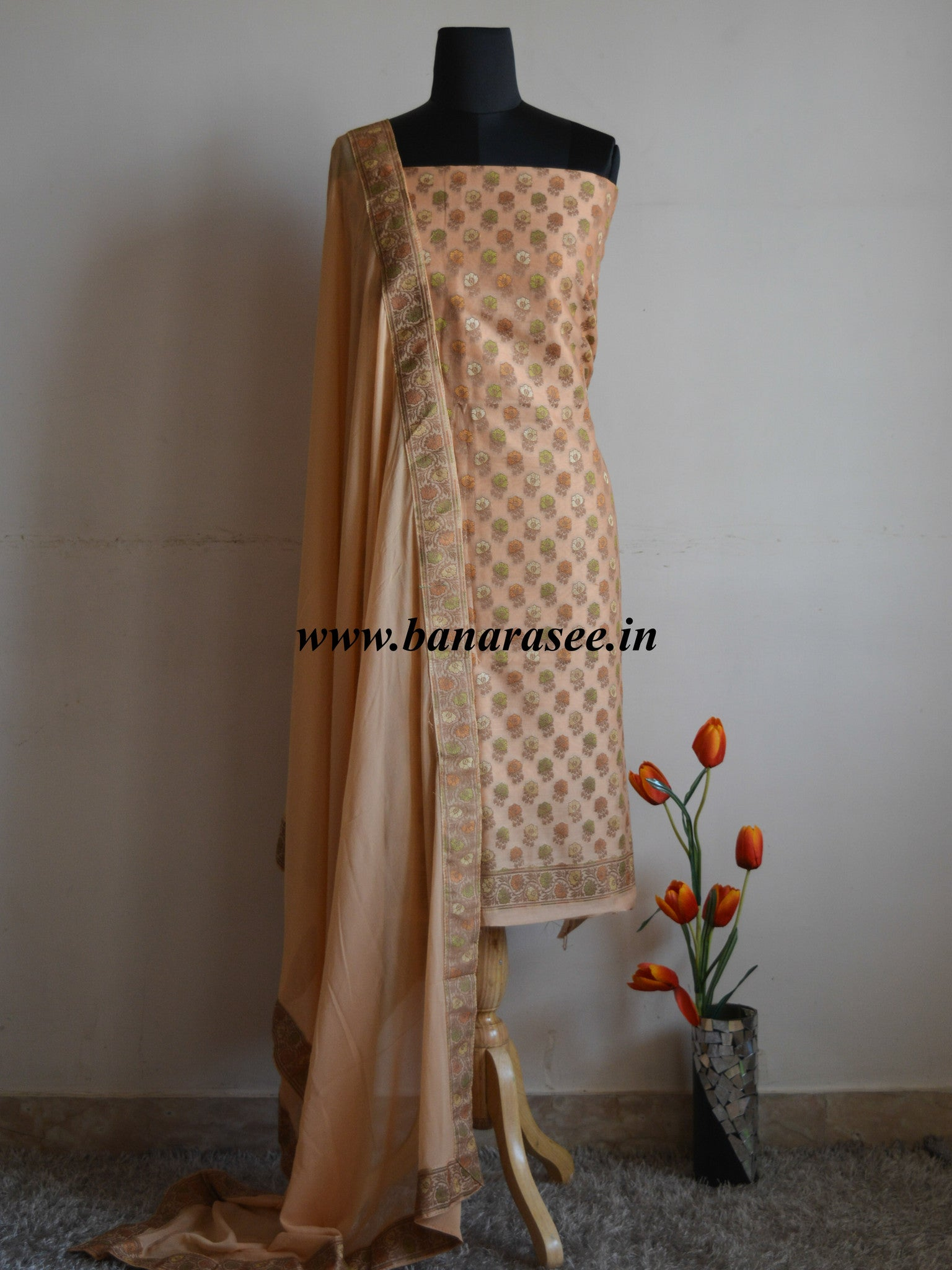 Banarasee/Banarasi Salwar Kameez Cotton Silk Woven Meena Buti Fabric-Light Brown