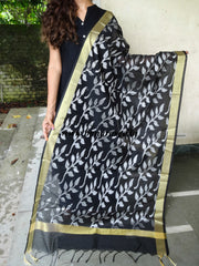 Banarasi Cotton Silk Leaf Pattern Dupatta-Black