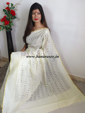 Banarasee Handwoven Net Saree With Self Woven Wave Design-Off-White