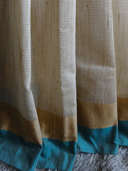 Banarasee/Banarasi Cotton Silk Mix Sari With Khadi Saree With Contrast Border-Green Border