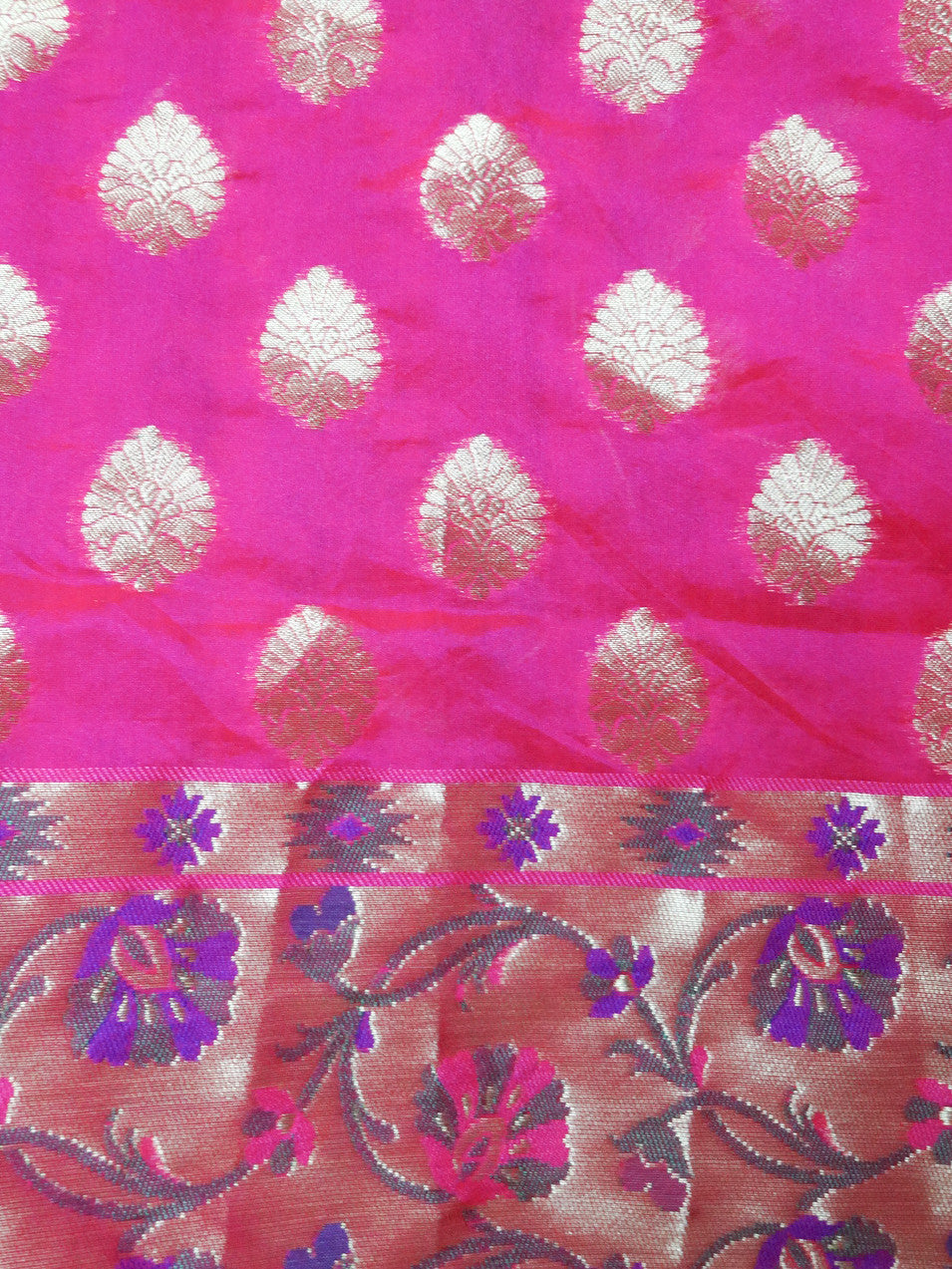Banarasee Cotton Silk Mix Saree with Zari Work Paithani Border-Hot Pink