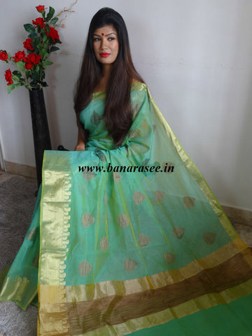 Banarasee/Banarasee Cotton Silk Saree Khichha Buti Design & Zari Border-Sea Green