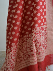 Banarasee/Banarasi Salwar Kameez Soft Cotton Resham Woven Fabric With Deep Red Dupatta-Off White