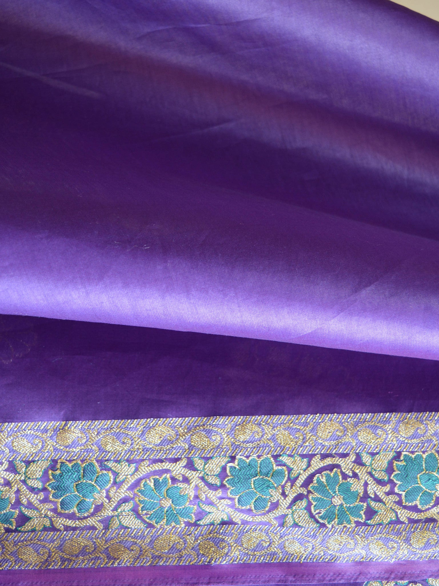 Banarasee/Banarasi Salwar Kameez Glossy Cotton Silk Woven Buti Fabric-Purple
