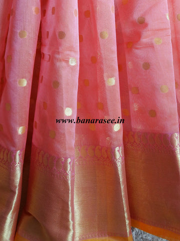 Banarasee Chanderi Cotton Zari Polka Dots With Skirt Border - Peach