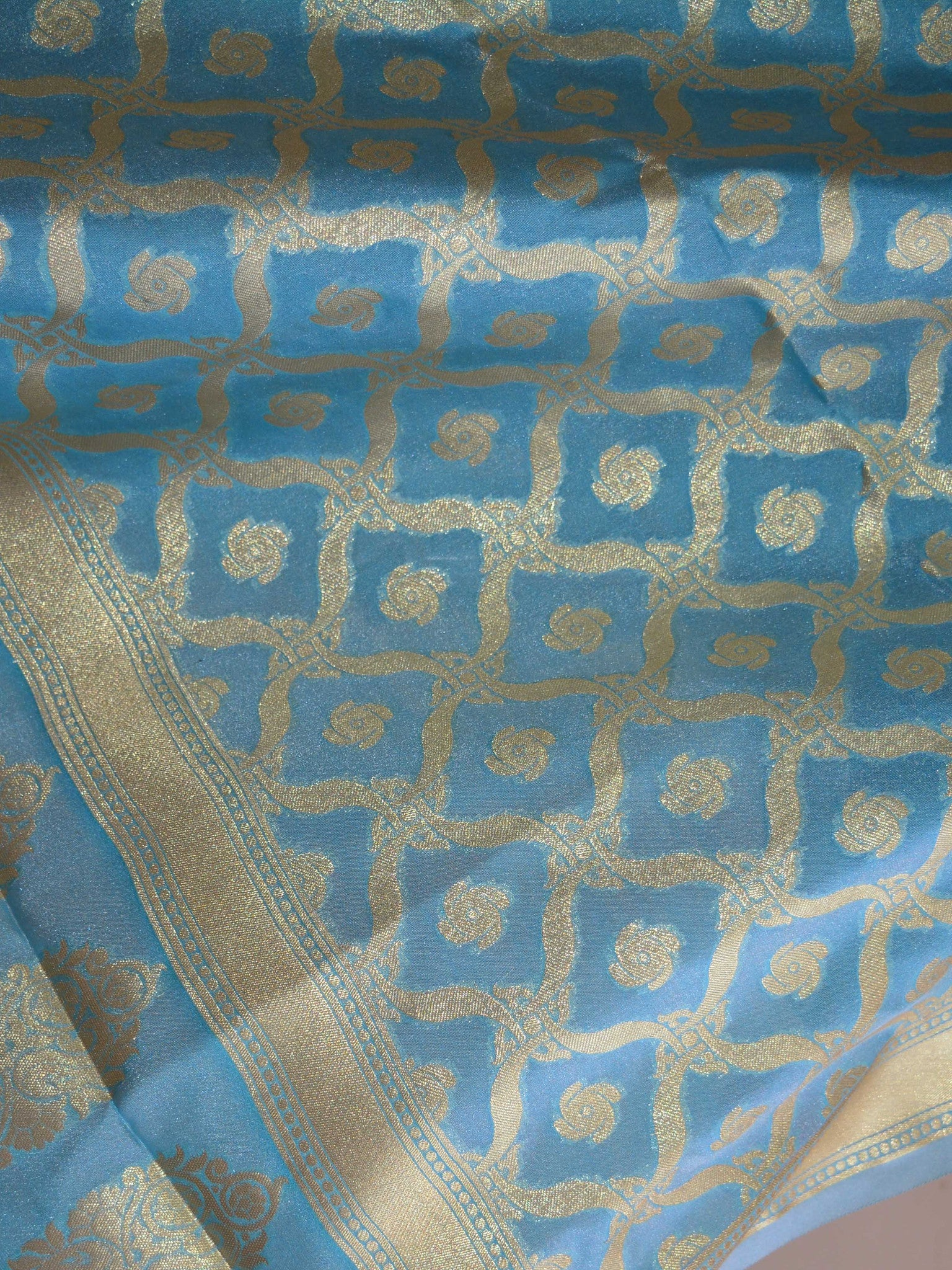 Banarasee Art Silk Dupatta With Pallu & Jaal Design-Sky Blue