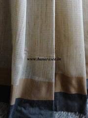 Banarasee/Banarasi Cotton Silk Mix Sari With Khadi Saree With Contrast Border-Black Border