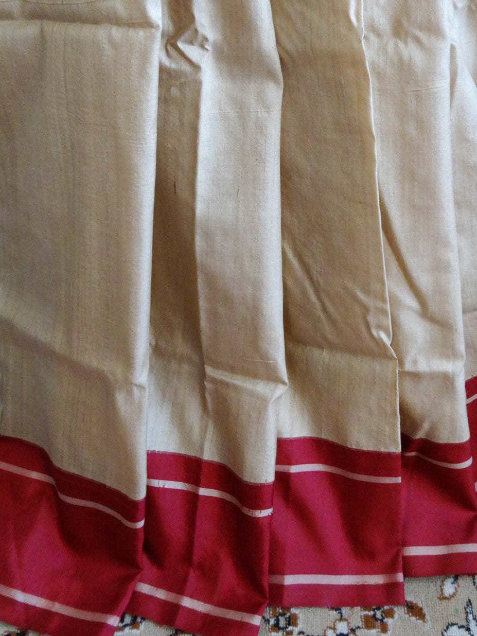 Banarasee/Banarasee Pure Handloom Tussar Khichha Silk Sari With Red Border- Beige