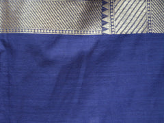 Banarasee/Banarasi Pure Handloom Cotton Silk Jamdani Sari With Zari Weaving-Blue