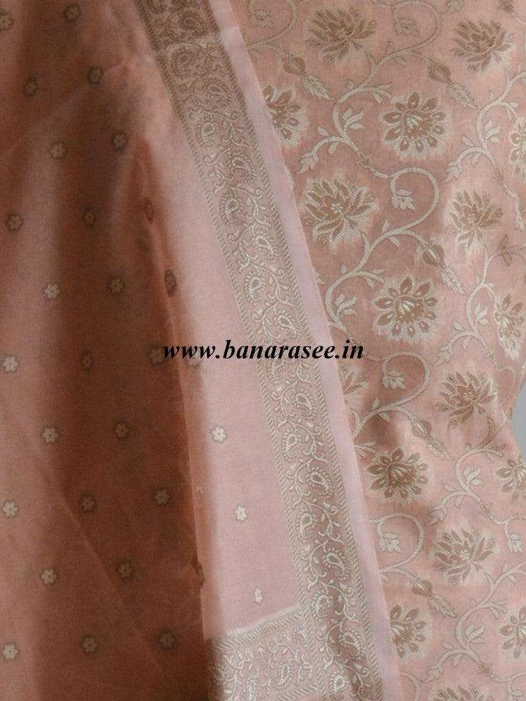 Banarasee/Banarasi Salwar Kameez Cotton Silk Resham Woven With Floral Jaal Design Fabric-Peach