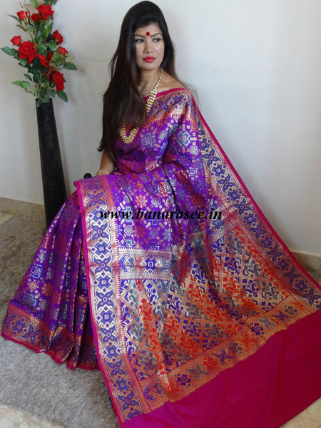 Banarasee Handwoven Art Silk Patola Design Meena & Zari Work Saree-Purple