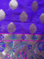 Banarasee Cotton Silk Mix Saree with Zari Work Paithani Border-Violet