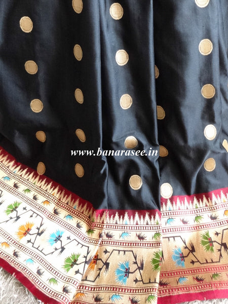 Banarasee/Banarasi Handloom Pure Silk Polka Dot Saree With Heavy Pallu & Border Work-Black