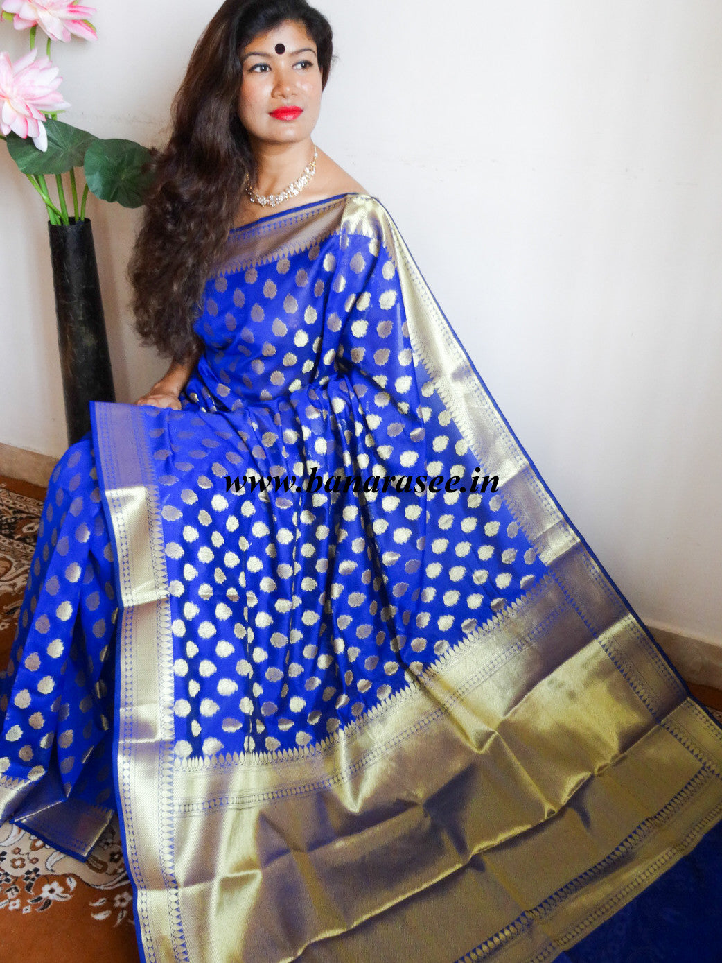 Banarasee/Banarasi Cotton Silk Mix With Zari Buti-Royal Blue