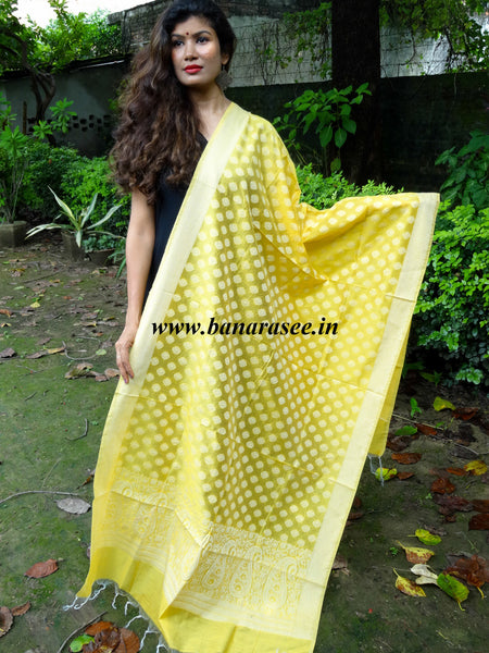 Banarasee/ Banarasi Cotton Silk Mix Resham Work Dupatta-Yellow