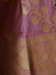Banarasee/Banarasi Handwoven Art Silk Unstitched Lehenga & Blouse Fabric With Dupatta-Brown & Pink