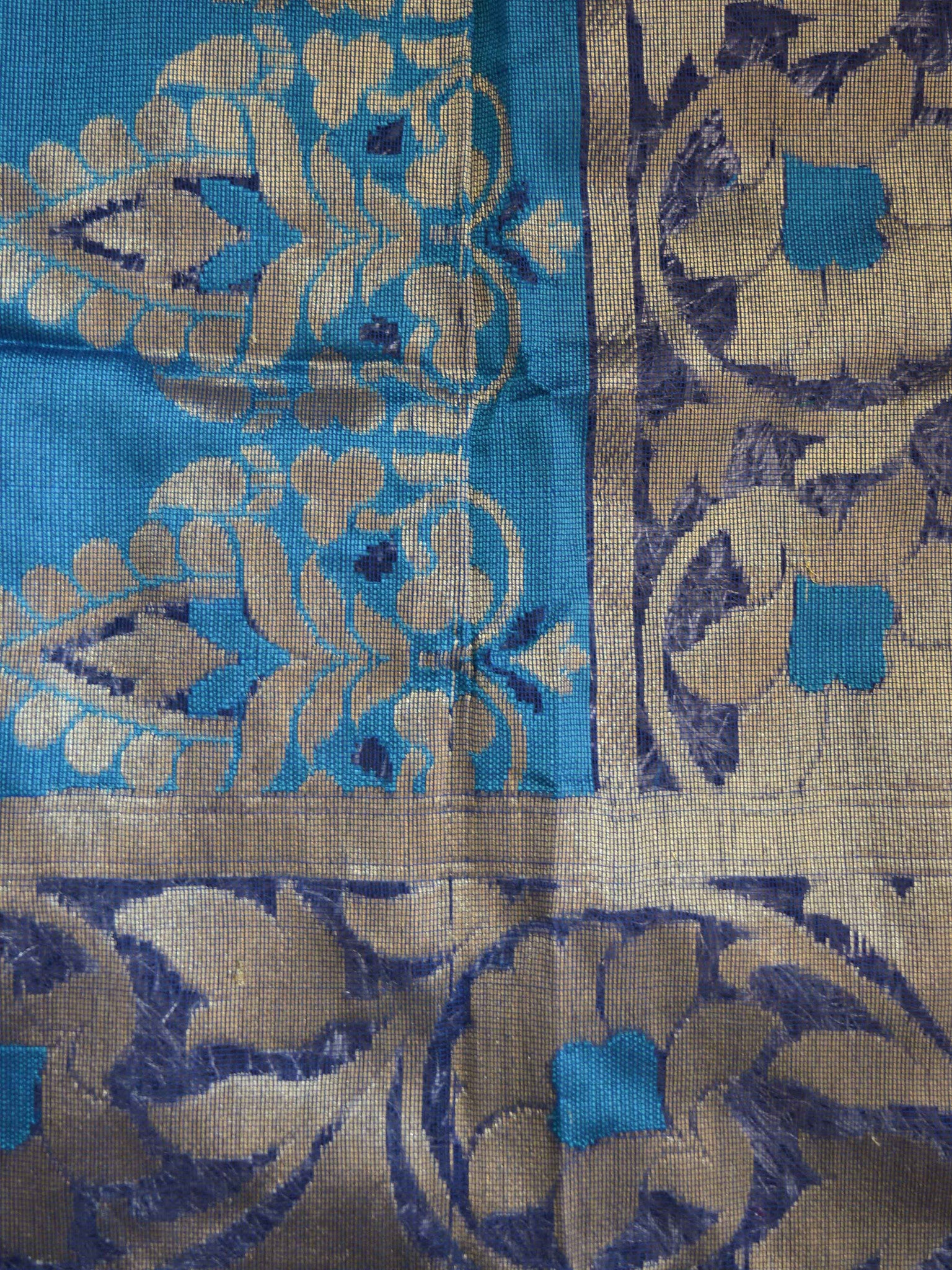 Banarasee/Banarasee Pure Net Handloom Saree in Floral Jaal Design-Blue