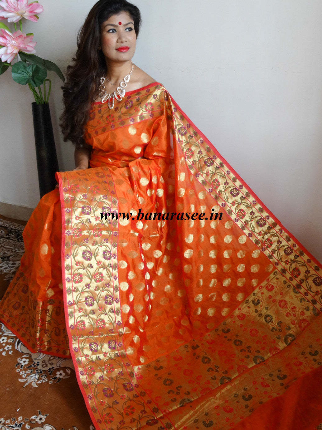 Banarasee Cotton Silk Mix Saree with Zari Work Paithani Border-Orange