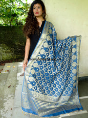 Banarasee/ Banarasi Cotton Silk Mix Zari Work Dupatta-Blue