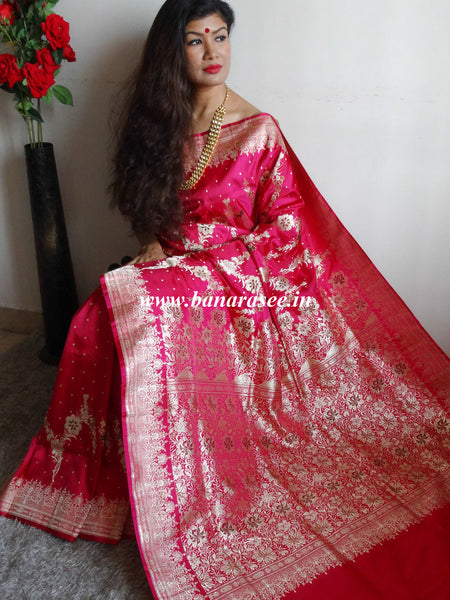 Banarasee/Banarasi Handloom Pure Silk Saree With Heavy Pallu & Border Work-Hot Pink