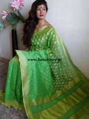 Banarasee/Banarasee Handwoven Half & Half Tissue Saree-Green & Gold