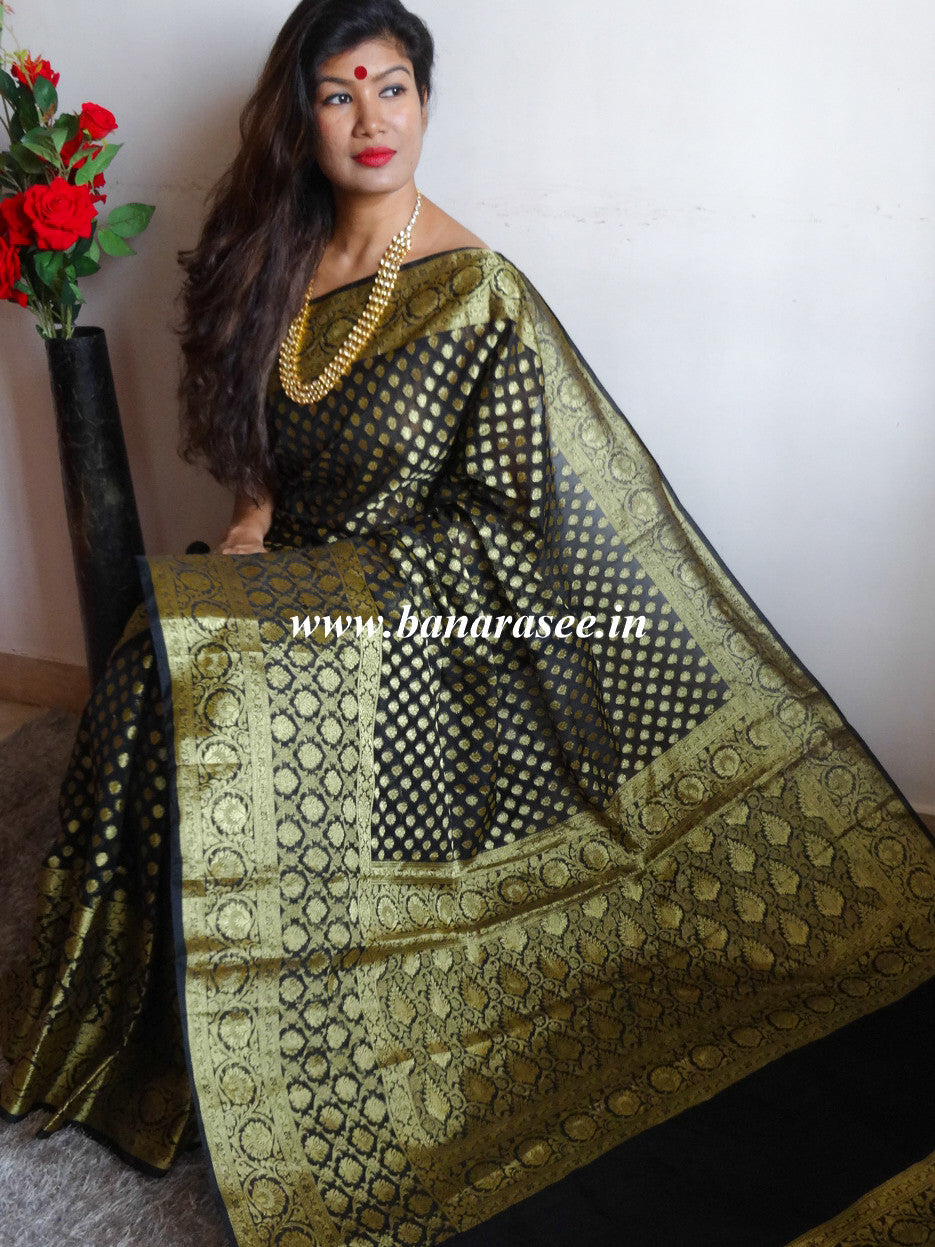 Banarasee/Banarasi Cotton Silk Mix Saree with Zari Buti & Skirt Border Design-Black