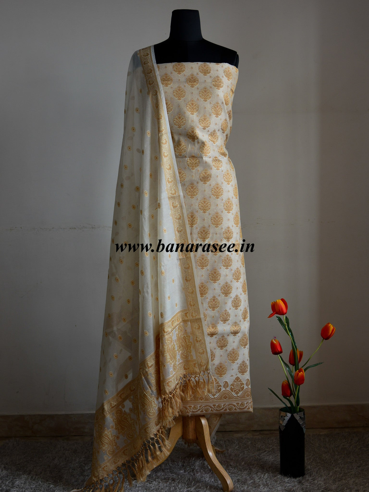 Banarasee/Banarasi Salwar Kameez Cotton Silk Resham Buti Woven Fabric-Off White