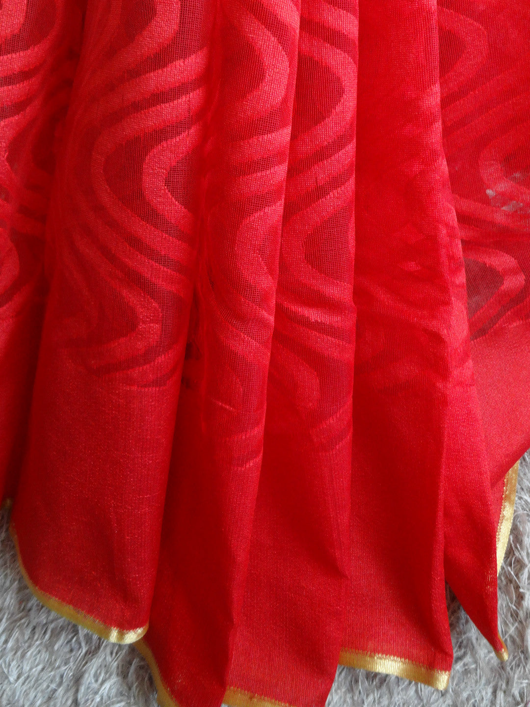 Banarasee Handwoven Net Saree With Self Woven Wave Design-Red