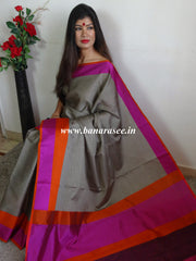 Banarasee Cotton Silk Brown Tanchoi Weave Saree With Contrast Woven Border-Grey