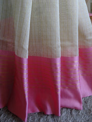 Banarasee/Banarasi Cotton Silk Mix Saree With Golden Checks & Pink Satin Border-Off-White