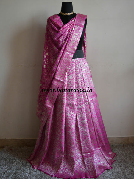 Banarasee/Banarasi Handwoven Brocade Unstitched Lehenga Fabric with Chiffon Dupatta-Pink
