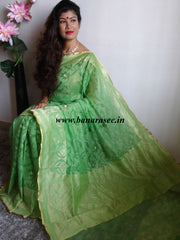 Banarasee Handwoven Net Saree With Floral Design-Green